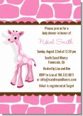 Giraffe Pink - Baby Shower Invitations