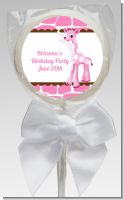 Giraffe Pink - Personalized Birthday Party Lollipop Favors