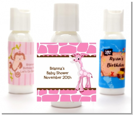 Giraffe Pink - Personalized Baby Shower Lotion Favors