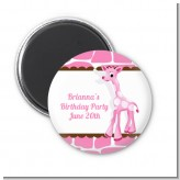 Giraffe Pink - Personalized Baby Shower Magnet Favors