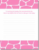 Giraffe Pink - Baby Shower Notes of Advice