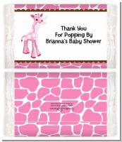 Giraffe Pink - Personalized Popcorn Wrapper Baby Shower Favors
