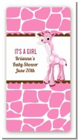 Giraffe Pink - Custom Rectangle Baby Shower Sticker/Labels