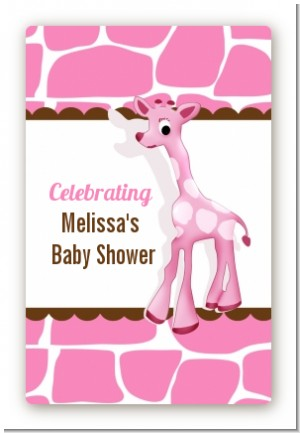 Giraffe Pink - Custom Large Rectangle Baby Shower Sticker/Labels