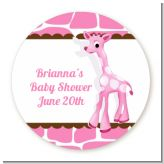 Giraffe Pink - Round Personalized Baby Shower Sticker Labels
