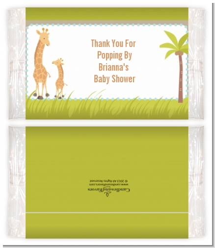 Giraffe - Personalized Popcorn Wrapper Baby Shower Favors