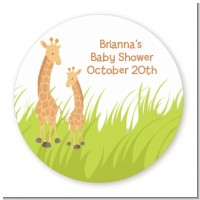 Giraffe - Round Personalized Baby Shower Sticker Labels