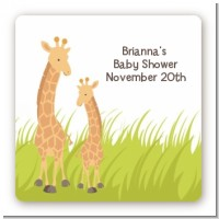 Giraffe - Square Personalized Baby Shower Sticker Labels