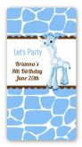Giraffe Blue - Custom Rectangle Birthday Party Sticker/Labels