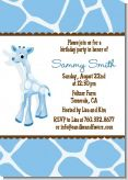Giraffe Blue - Birthday Party Invitations