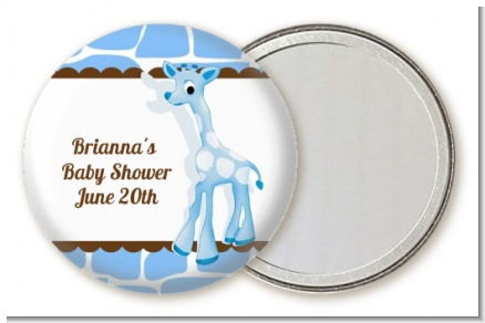 Giraffe Blue - Personalized Baby Shower Pocket Mirror Favors