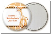 Giraffe Brown - Personalized Birthday Party Pocket Mirror Favors