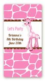 Giraffe Pink - Custom Rectangle Birthday Party Sticker/Labels