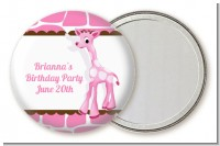 Giraffe Pink - Personalized Birthday Party Pocket Mirror Favors