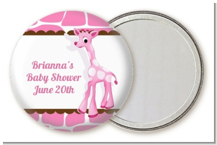 Giraffe Pink - Personalized Baby Shower Pocket Mirror Favors