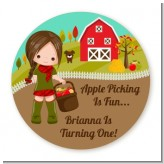 Country Girl Apple Picking - Round Personalized Birthday Party Sticker Labels