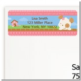 Puppy Dog Tails Girl - Baby Shower Return Address Labels