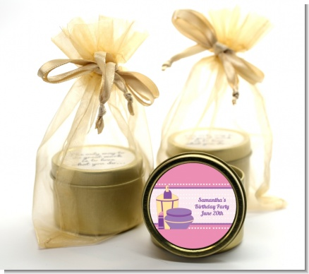 Glamour Girl - Birthday Party Gold Tin Candle Favors
