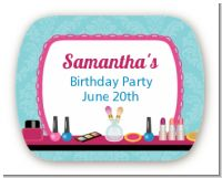 Glamour Girl Makeup Party - Personalized Birthday Party Rounded Corner Stickers
