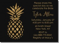 Gold Glitter Pineapple - Bridal Shower Invitations