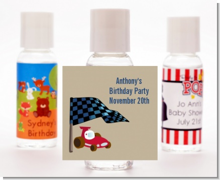 Go Kart - Personalized Birthday Party Hand Sanitizers Favors