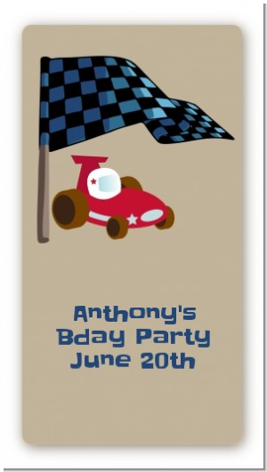 Go Kart - Custom Rectangle Birthday Party Sticker/Labels