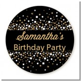 Gold Glitter and Black - Round Personalized Birthday Party Sticker Labels
