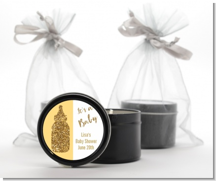 Gold Glitter Baby Bottle - Baby Shower Black Candle Tin Favors