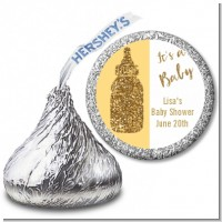 Gold Glitter Baby Bottle - Hershey Kiss Baby Shower Sticker Labels