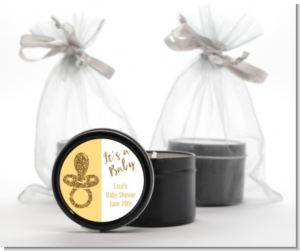 Gold Glitter Baby Pacifier - Baby Shower Black Candle Tin Favors