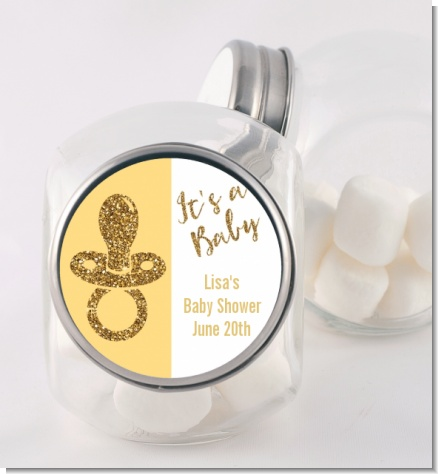 Gold Glitter Baby Pacifier - Personalized Baby Shower Candy Jar