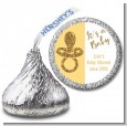 Gold Glitter Baby Pacifier - Hershey Kiss Baby Shower Sticker Labels thumbnail