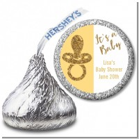 Gold Glitter Baby Pacifier - Hershey Kiss Baby Shower Sticker Labels