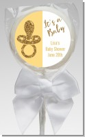 Gold Glitter Baby Pacifier - Personalized Baby Shower Lollipop Favors