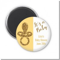 Gold Glitter Baby Pacifier - Personalized Baby Shower Magnet Favors