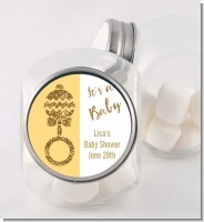 Gold Glitter Baby Rattle - Personalized Baby Shower Candy Jar