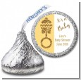 Gold Glitter Baby Rattle - Hershey Kiss Baby Shower Sticker Labels thumbnail