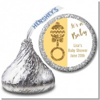 Gold Glitter Baby Rattle - Hershey Kiss Baby Shower Sticker Labels