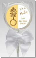 Gold Glitter Baby Rattle - Personalized Baby Shower Lollipop Favors
