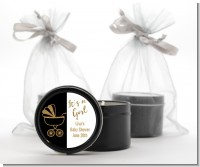 Gold Glitter Black Carriage - Baby Shower Black Candle Tin Favors