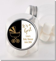 Gold Glitter Black Carriage - Personalized Baby Shower Candy Jar