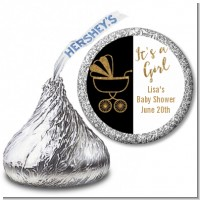 Gold Glitter Black Carriage - Hershey Kiss Baby Shower Sticker Labels
