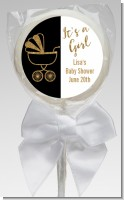Gold Glitter Black Carriage - Personalized Baby Shower Lollipop Favors