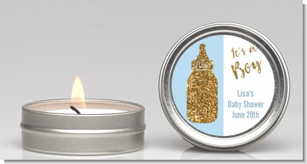 Gold Glitter Blue Baby Bottle - Baby Shower Candle Favors