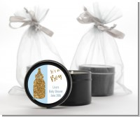 Gold Glitter Blue Baby Bottle - Baby Shower Black Candle Tin Favors