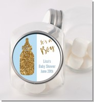 Gold Glitter Blue Baby Bottle - Personalized Baby Shower Candy Jar