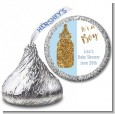 Gold Glitter Blue Baby Bottle - Hershey Kiss Baby Shower Sticker Labels thumbnail