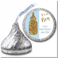 Gold Glitter Blue Baby Bottle - Hershey Kiss Baby Shower Sticker Labels
