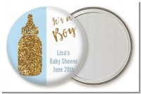 Gold Glitter Blue Baby Bottle - Personalized Baby Shower Pocket Mirror Favors