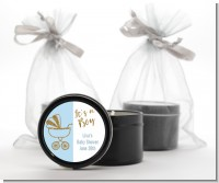 Gold Glitter Blue Carriage - Baby Shower Black Candle Tin Favors